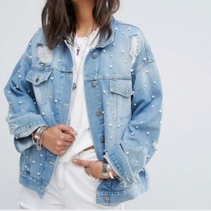 Free People Oversized Jean Jacket With Pearls